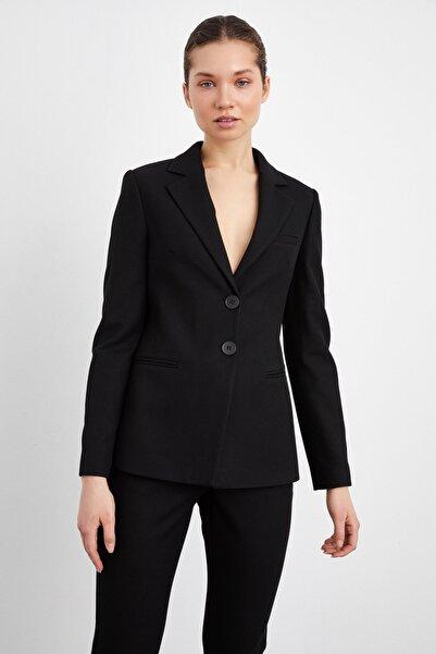 adL Kadın Siyah Fleto Cepli Ceket