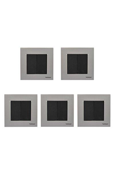 Netelsan Gümüş Mat Siyah Renkli İkili Açma Kapama Düğmesi Beş Adet