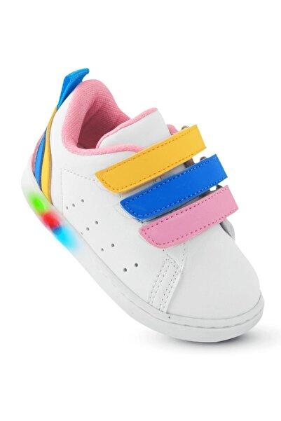 KAPTAN JUNIOR Kız Bebek Beyaz Ortopedik İlkadım Spor Ayakkabı