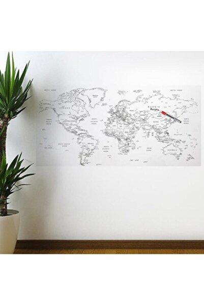 Ofis Klasör Yazılabilir Dünya Haritası Manyetik Duvar Stickerı 110 X 56 Cm Boyanabilir Dünya Haritası
