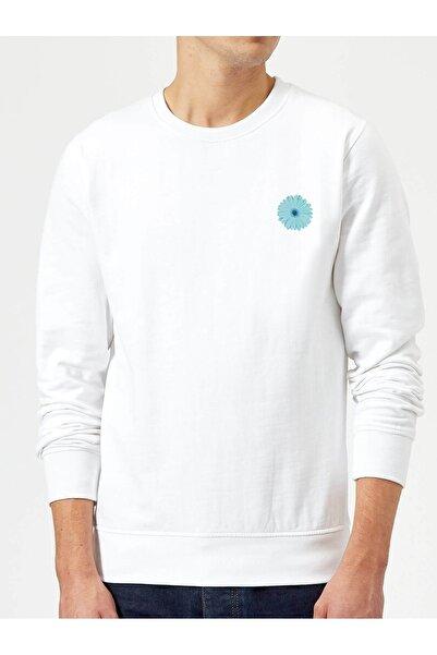 QIVI Erkek Beyaz Flower Aqua Bebek Duşu Mavi Gerbera Baskılı Örme Sweatshirt Uzun Kol