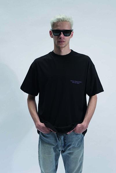 HOLEACADEMIE Unisex Siyah Yazı Baskılı Kısa Kol T-Shirt