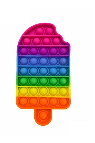 OKFİS Pop It Push Bubble Fidget Zihinsel Stres Oyuncak Dondurma Gökkuşağı 10x19 Cm Büyük Boy Kutulu