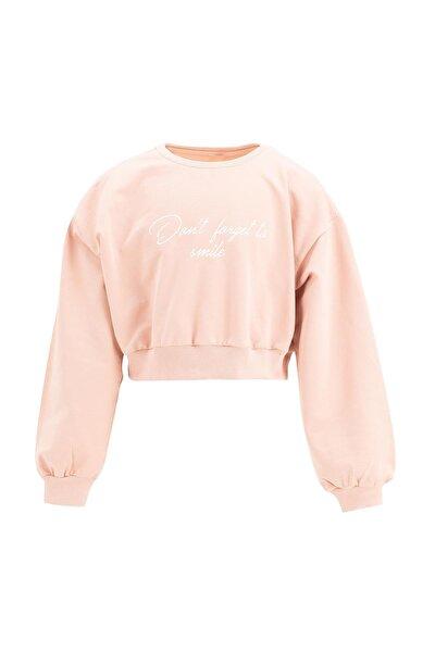 DeFacto Kız Çocuk Yazı Baskılı Crop Sweatshirt