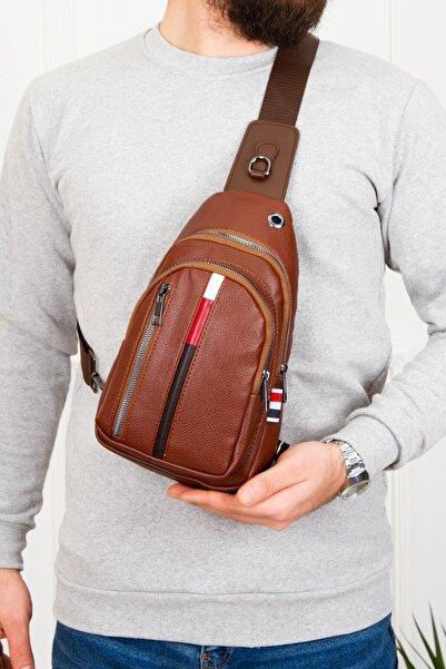 Av A Dos Unisex Taba Deri Kulaklık Çıkışlı Çapraz Bel Omuz Çanta Göğüs Bodybag