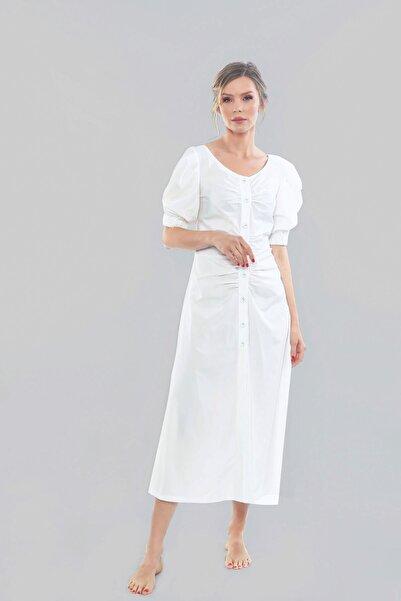 Ayşe Brav Önden Kapamalı Karpuz Kol Elbise