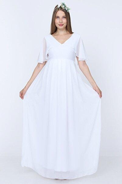 Moda Labio Melek Kol Hamile Elbisesi Beyaz