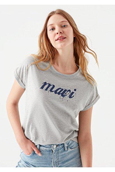 Mavi Logo Baskılı Gri Tişört