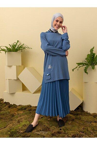 Loreen Kadın Lacivert Kapüşonlu Cep Detaylı Tunik