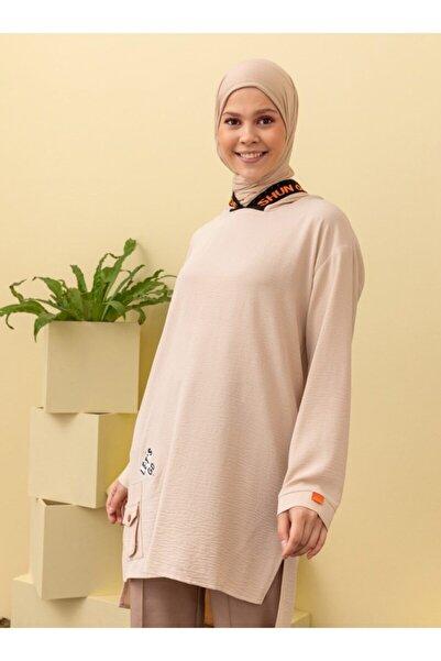 Loreen Kadın Bej Kapüşonlu Cep Detaylı Tunik