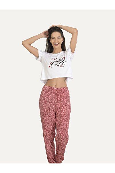 NBB Kadın Beyaz Minimalist Pijama Takımı 67182