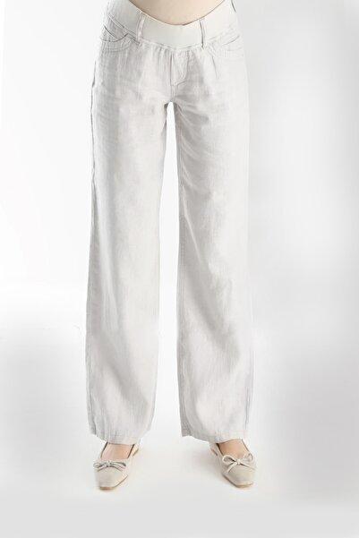 Gaiamom Kadın Beyaz Keten Hamile Pantolon