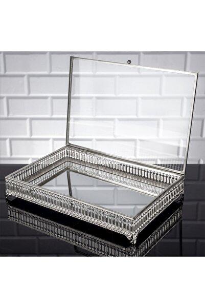Zeyve Inci Dikdörtgen Sunumluk Cam Kapaklı Çikolata Ve Takı Kutusu Büyük Aynalı Sandık Gümüş
