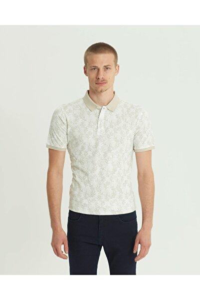SÜVARİ Erkek Bej Slim Fit Baskılı Polo Yaka  Tişört