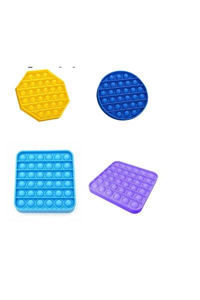 aydede ahşap 4 Adet Pop It Push Bubble Fidget Stres Atıcı Rahatlatıcı Duyusal Oyuncak 4 Adet 4 Renk 4 Model