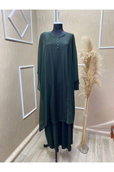 MaviMoure Kadın Haki Anne Penye Üstü Şifon Elbise İkili