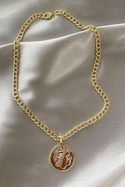 Modex Kadın Kalın Zincirli Altın Sarısı Madalyon Kolye
