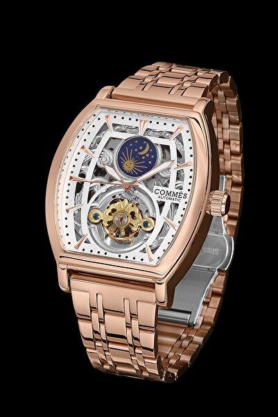 COMMES Erkek Rose Beyaz Çelik Kordon Otomatik Kol Saati Cüzdan ve Bileklik
