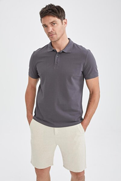 DeFacto Erkek Gri Regular Fit Polo Yaka Basic Kısa Kollu Tişört