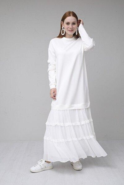 Moodbasic Kadın Ekru Şifonlu Fırfırlı Sweat Elbise