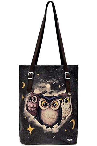 Dogo Kadın Siyah Owls Family Tallbag Renkli Omuz Çantası