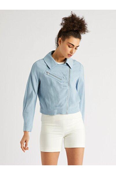 Vekem Kadın Mavi Rahat Kesim Blazer Ceket