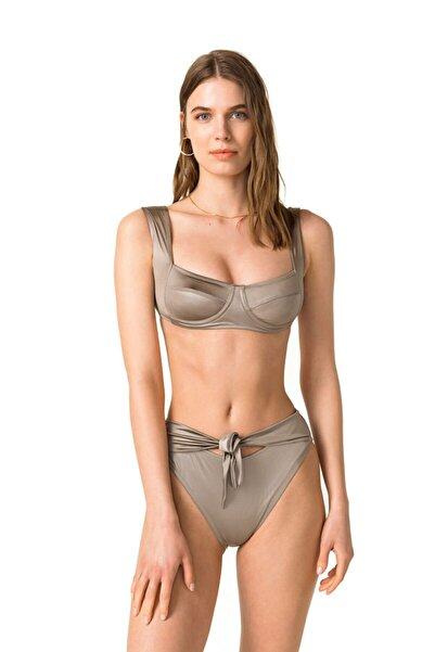 Movom Kadın Gri Yüksek Bel Bikini Takımı