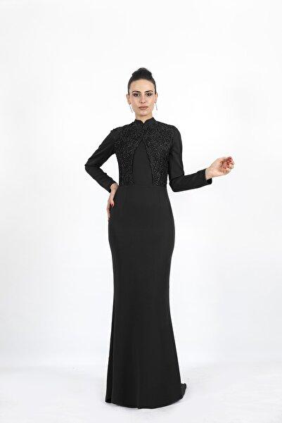 Nidya Moda Kadın Siyah  Büyük Beden Tesettür Balık Uzun Abiye Elbise