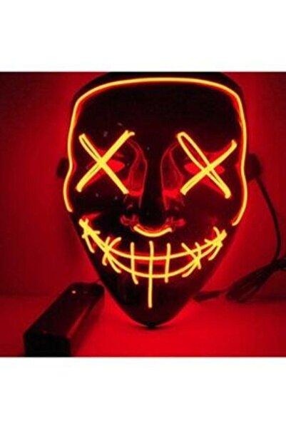 SHOPLİNE Hallowen Led Işıklı Neon Maske 3 Modlu Parti Eğlence Maskesi Transparan Kırmızı