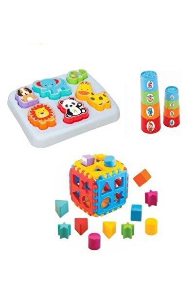 Dede Oyuncak Sevimli Hayvanlar Bultak + Silindir Kule + Bul Tak Puzzle Eğitici Zeka Geliştirici Set