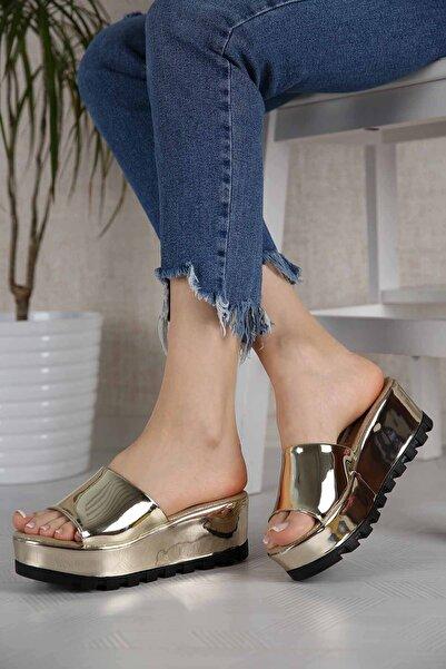 Ccway Kadın Altın Ayna Dolgulu Terlik