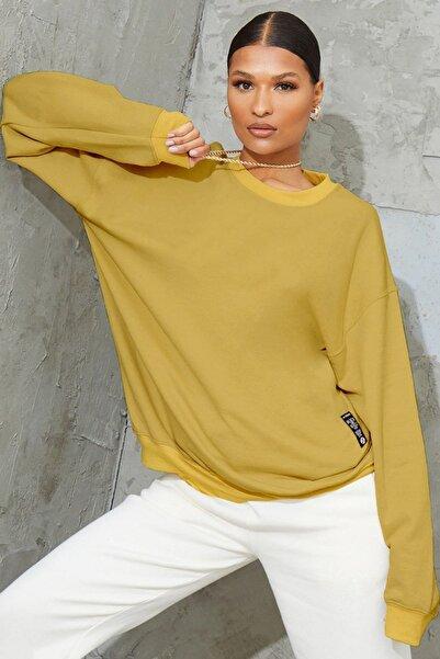 Millionaire Kadın Hardal Sarısı Basic 0 Sıfır Yaka Baskısız Düz Oversize Salaş Bol Kesim Polar Sweatshirt