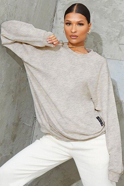 Millionaire Kadın Karmelanj Basic 0 Sıfır Yaka Baskısız Düz Oversize Salaş Bol Kesim Polar Sweatshirt