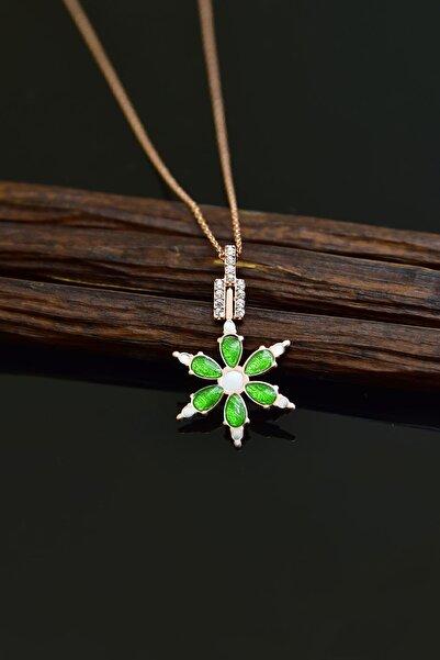 Papatya Silver 925 Ayar Gümüş Rose Kaplama Yeşil Mineli Kamelya Çiçeği Kolye