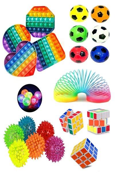 Hyd Stres Giderici Set 1 Popit 1 Rubik Zeka Küpü 1 Stres Topu 1 Stres Yayı 1 Işıklı Dikenli Stres Topu