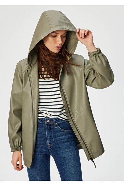 Mavi Kapüşonlu Suni Deri Yeşil Ceket