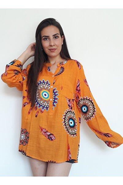 Otantik Tekstil Kadın Turuncu Otantik Mandala Desenli Uzun Kollu Keten Şile Bezi Bluz