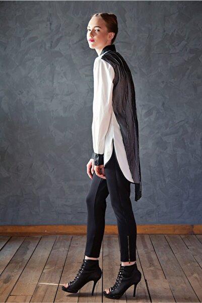 Ece Salıcı Kadın Arkası Tül Saten Detaylı Gömlek