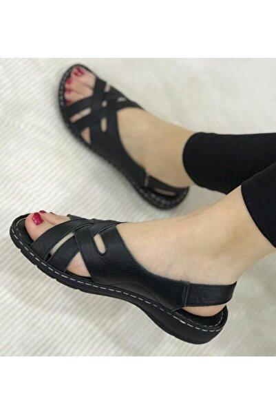 Bulldozer Kadın Siyah Deri Yazlık Düz Topuk Içi Yumuşak Taban Sandalet