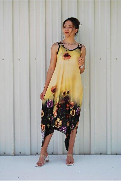 MGS LİFE Kadın Sarı Çiçek Desenli Toka Detaylı Asimetrik Kesim Elbise