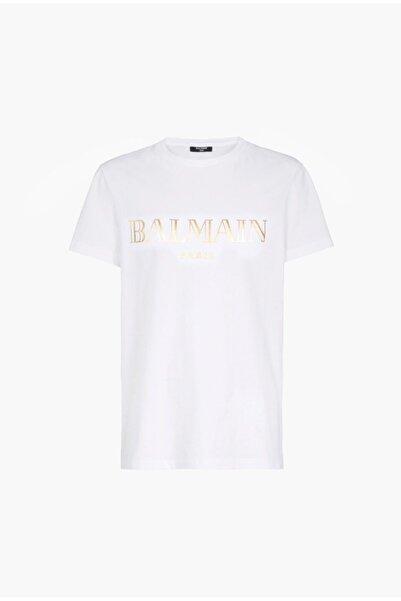 BALMAIN Erkek Gold Logo Print T-shirt
