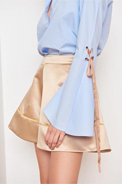 Mehtap Elaidi Kadın Mavi Çan Kollu Bluz