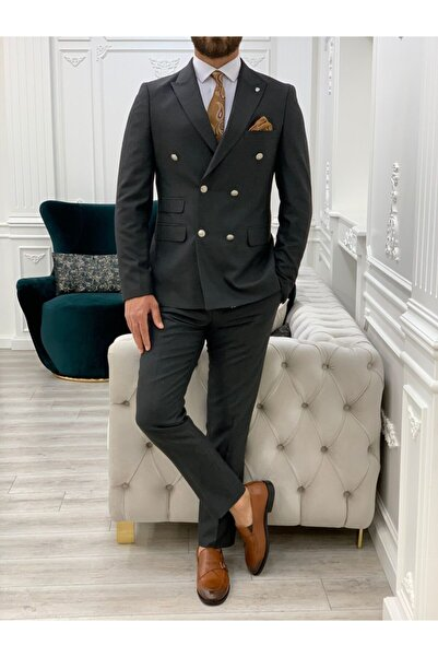PAREZ Slim Fit Erkek Kruvaze Takım Elbise