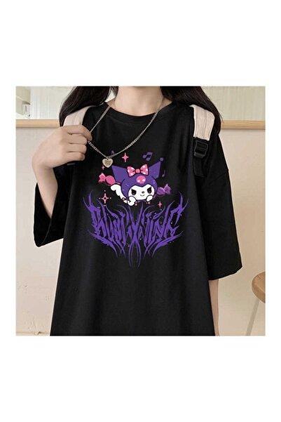 Köstebek Unisex Siyah Harajuku Kuromi Gotik T-shirt