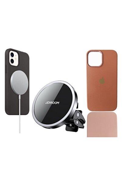 Joyroom Iphone 12 Promax Uyumlu Magsafe 3'lü Set / Magsafe Şarj Aleti/magsafe Araç Tutucu/deri Magsafe Kılıf