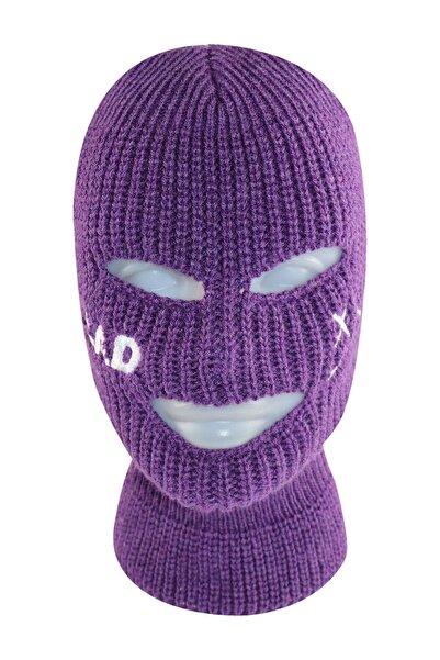 zirve şapka Mor Sad Yazılı Kar Maskesi