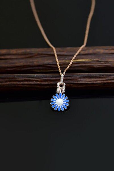 Papatya Silver 925 Ayar Gümüş Rose Kaplama Küçük Mavi Mineli Papatya Kadın Kolye