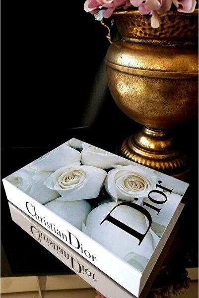 irayhomedecor Beyaz Gül Dekoratif Kitap Kutu