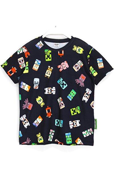 MINECRAFT Çocuk Siyah Minecraft Karakter 360 Derece Baskılı T-shirt