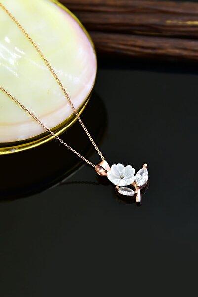 Papatya Silver 925 Ayar Gümüş Rose Kaplama Sedef Taşlı Manolya Kadın Kolye
